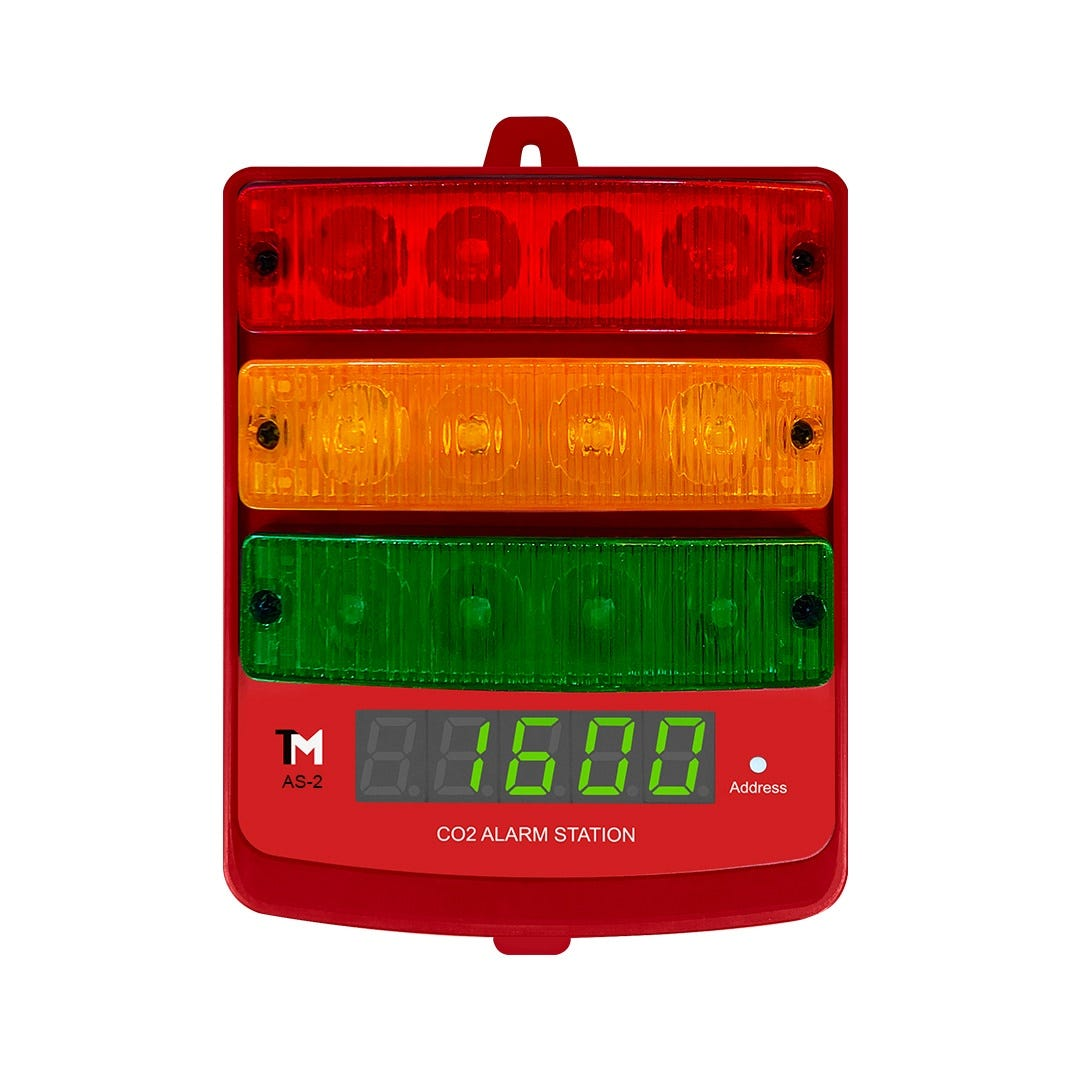 Photograph of TrolMaster Carbon-X CO2 Alarm Station (audio/visual) + LED display indicator with cable set (AS-2)