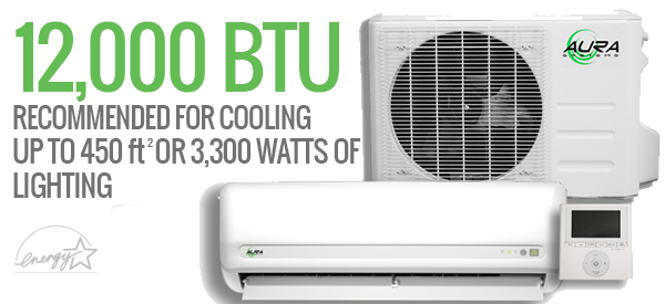 Aura Systems 12,000 BTU MINI-SPLIT 240v *DISCONTINUED* This item has been discontinued, Please try our selection of Air Conditioners for an alternative. Aura Systems 12,000 BTU MINI-SPLIT 240v The Aura Systems 12,000 BTU MINI-SPLIT 240v is an efficient, dependable, and affordable ductless mini-split DC inverted air conditioner. Constructed of high-quality Japanese internal components, and using the highest grade pure copper coils and lines, these systems are perfect for light commercial applications. The Aura Systems 12,000 BTU MINI-SPLIT 240v is ETL Listed and Energy Star Approved. The Aura Systems 12,000 BTU MINI-SPLIT 240v produces 12,000 BTU's of power, which is enough to heat and cool 450 ft² of living space or provide climate control for 3,300 watts of vented lighting. The system comes equipped with a wall-mounted programmable thermostat and a remote control that can read the temperature wherever you hold it. Btu/h: 12,000 Power Input: 1900 Current: 4.8 SEER: 17.5 Operates in: °F and ℃ Ambient Temperature Range: Cooling: -5 – 122F / Heating: -5 – 86F Indoor Fan Speed (Hi/Mi/Lo): 1050 / 850 / 650 r/min Air Flow Volume (CFM): 294 / 206 / 141 Noise Level (INDOOR): 40.5 / – / 25 dB(A) Noise (OUTDOOR): 57 dB(A) Net Dimensions (INDOOR): 31-1/2″ x 7-1/2″ x 11-3/4″ (W x D x H) Net Dimensions (OUTDOOR): 33-1/2″ x 12-5/8″ x 21-3/4″ (W x D x H) 1 Year Bumper to Bumper Warranty, 5 year Compressor Warranty (VOID if non-quick connect unit is not installed by a licensed HVAC technician, if compressor is in attic or room without proper ventilation, or if electrical is not installed according to manual specifications)