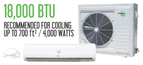 Aura Systems 18,000 BTU 17.7 SEER Air Conditioner w/ Heat Pump Need help finding out how many BTU's of cooling power you need for your grow room? Use the Air Conditioner Cooling Calculator to know exactly what you need. Aura Systems 18,000 BTU AU-018 1.5 Ton Ductless Mini Split AC units are designed with indoor grow rooms in mind. Aura AC units offer 25' line sets, active carbon filtration, auto restart functions, LED displays, temperature sensors, and more features to automate the environment for your plants to be at the perfect temperature. Outdoor unit ambient temperature operating range: 15 F to 110 F. Aura Systems line of ductless mini-split air conditioners are both efficient, dependable, and affordable. Constructed of high-quality Japanese internal components using the highest grade pure copper coils and lines, these units are perfect for both residential and light commercial applications. The Aura AU-018 produces 18,000 BTU's of cooling power which is enough to cool 700ft² of living space, or 4,000 Watts. Aura Systems mini-split's are also ETL Listed and Energy Star Approved.
