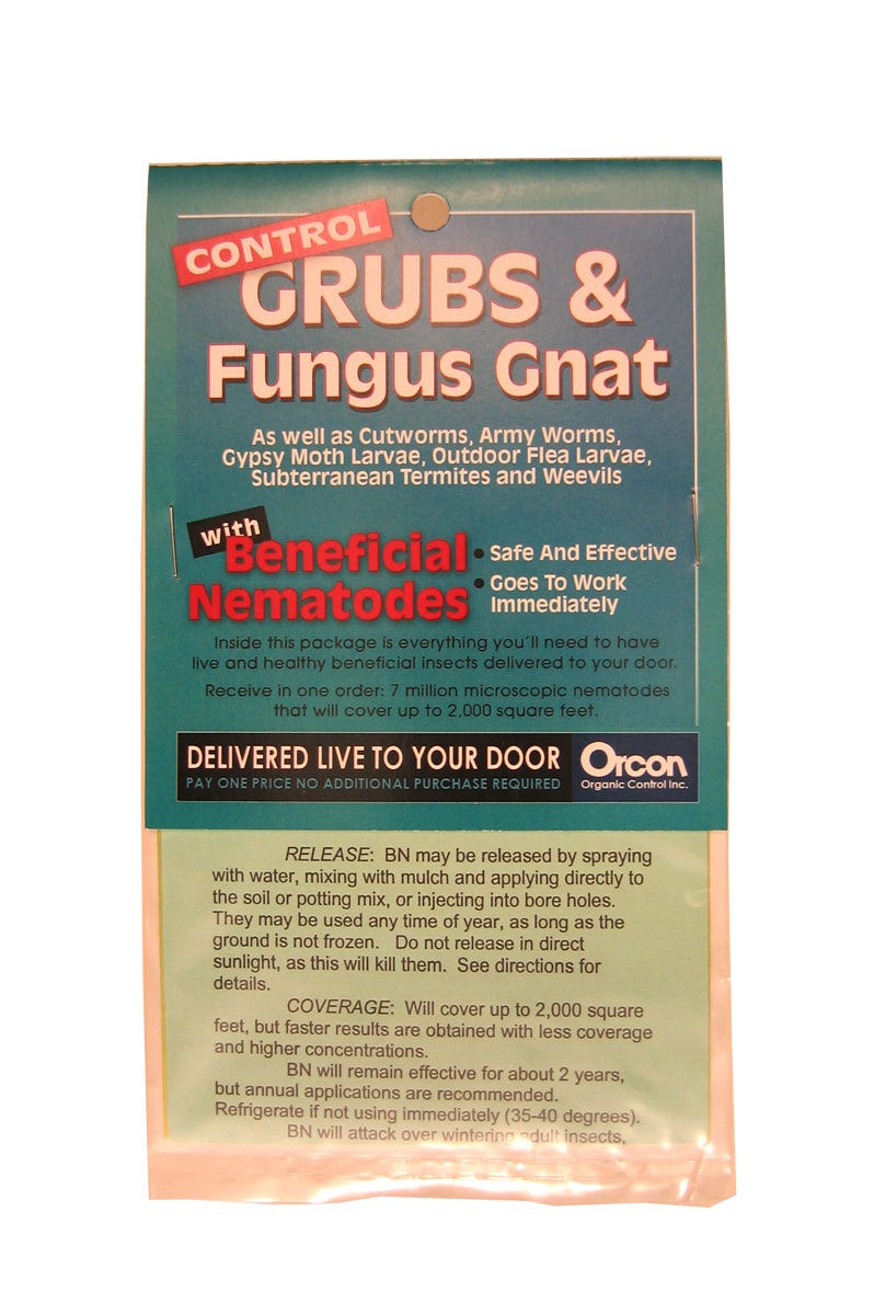 Beneficial Nematodes Mail-Back, pack of 5 This is for the redemption codes only. When you receive your package go to Orcon Organics Control website to redeem your codes and order your live bugs/insects. These microscopic organisms destroy pests that live underground. They will seek out and destroy more than 230 different kinds of soil dwelling and wood boring insects, including Japanese beetles, cut worms, wire worms, weevils, white grubs, fungus gnat larvae, flea larvae, subterranean termites and many more. They are so small that several thousand would fit on the head of a pin! But they do a big job -moving through the ground, they enter the body cavities of their target pests and release bacteria that kill that pest. They are completely safe for people, pets, and the environment, and are compatible with other beneficial insects. Each container includes seven million live beneficial nematodes. USE: Beneficial Nematodes (BN) attack more than 230 kinds of soil dwelling and wood boring pests, such as flea larvae, white grubs, cutworms, corn root worms, strawberry weevils, gypsy moth larvae, cabbage root maggots, fungus gnat larvae, and many more. RELEASE: BN may be released by spraying with water, mixing with mulch and applying directly to the soil or potting mix, or injecting into burrows. They may be used any time of year, as long as the ground is not frozen. Do not release in direct sunlight, as this will kill them. See directions for details. COVERAGE: Will cover up to 2,000 square feet, but faster results are obtained with higher concentrations. GENERAL INFORMATION: Beneficial Nematodes (Steinernema feltiae) are microscopic in size and cannot be seen with the naked eye. But the 7 million active units in each pint container will hunt down, penetrate, and kill most soil dwelling pests. BN will remain effective for about 2 years, but annual applications are recommended. Refrigerate if not using immediately (35-40 degrees). BN will attack over wintering adult insects