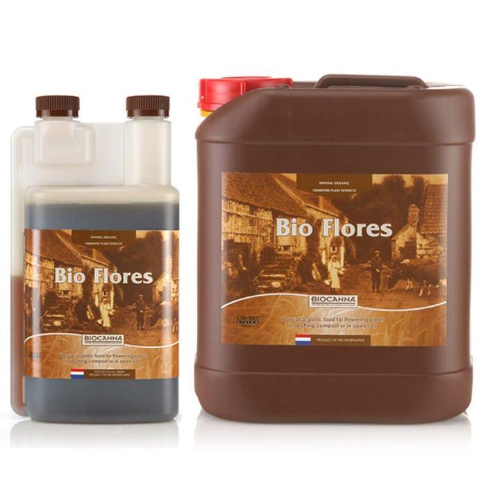 Bio Canna Bio Flores - OMRI Organic BioCanna Bio Flores specially developed for the blooming phase of plants. Made of fermented plant material, BioFlores provides many blooming necessary minerals in the correct proportions. In addition to these minerals, the fermented plant material provides beneficials like as Betaine nitrogen and many amino acids, giving your plantsextra blooming power. What is BioCanna? BIOCANNA products are especially developed for cultivation on soil and organic-based mediums whether they are certified organic or not. While none of these products are currently registered for use in the State of California for certified organic production, the organic certified ones can be used in all other states where they are registered for sale. Crops grown in these other states using the BIOCANNA OMRI registered products can be called organic provided they are grown using organic or biological methods in accordance with the National Organic Program and International guidelines. BIOCANNA fertilizers posess the correct constitution to avoid overdosing of nutrients. Over fertilizing can harm not only the environment, but also the plant, and can lead to burning or disease. Proper nutrient formulation insures the plant is not under fertilized which can cause stunting, delay or even loss of a harvest. Directions for Use Shake the bottle well before use Dosage: 40 ml/10 Liter - 16 ml/US gallon (1:250) Depending on the container size and the plant size: feed 1 to 3 times each week The diluted food solution does not need to be acidified Feed the diluted solution within 24 hours Preferred feeding is by hand and over the top of the medium. If drip irrigation is used, always flush the lines after each application to avoid clogging Other directions: Use according to manufacturer's guidelines only: A conc