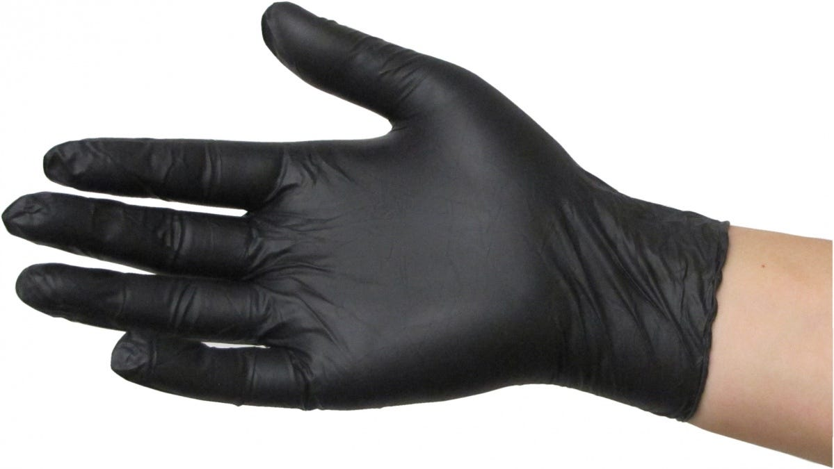 Photograph of Common Culture Black Powder Free Nitrile Gloves Small (100/Box)