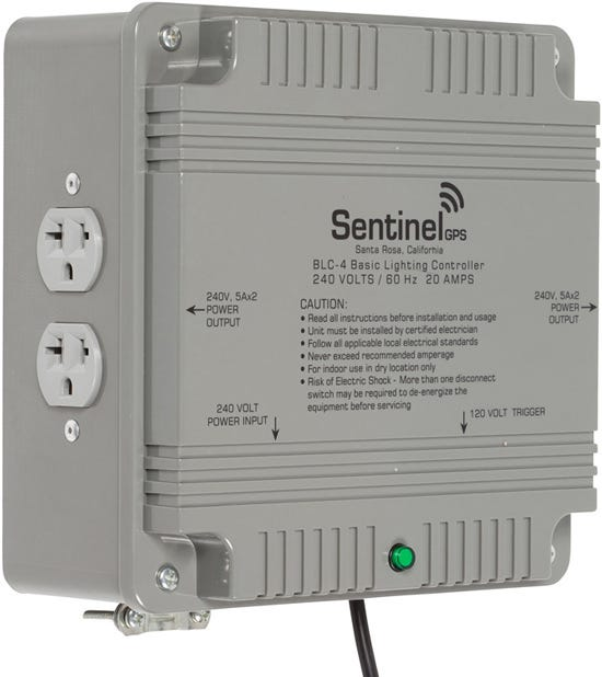 Sentinel Basic Lighting Controller 4 Outlet BLC-4 Triggered Controllers with Universal Receptacles and Mounting Bracket Basic Lighting Controllers are built using the same components as Sentinel's ETL listed HPLC's, featuring larger gauge appliance wire, insulated high voltage electrical connections, independent grounds for each relay, and 40 amp contactors. 240 VOLTS / 20 AMPS / 60Hz Run up to four (4) lights at 240 volts, maximum 4000 watts Removable front access panel makes controller easy to wire to existing power system Four (4) Universal outlets for ballasts Includes heavy duty mounting bracket RoHS compliant for environmental friendliness 14' (4.5m) 120v trigger cable for easy setup and operation Features durable construction built to withstand high impacts and provide years of reliable performance. Specifications: Input Power:	240V AC / 60Hz 2+G Output Power	: 240V AC / 60Hz Storage Temperature: 32°F (0°C) to 135°F (57°C) Operating Temperature: 40°F (5°C) to 125°F (52°C) Maximum Amperage: 20 Amps Maximum Wattage: 4000 Watts Relay Coil Power: 120V AC / 60Hz Relay Trigger Cable: NEMA 1-15, 14 feet (4.5m) Life Expectancy: 10 years+ RoHS Compliant: YES Dimensions: 11.3 (288mm) x 10.7 (272mm) x 4.3  (108mm) Weight: 7.1 lbs. (3.2kg)