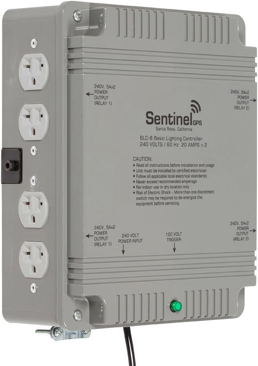 Sentinel Basic Lighting Controller 8 Outlet BLC-8 Triggered Controllers with Universal Receptacles and Mounting Bracket Basic Lighting Controllers are built using the same components as Sentinel's ETL listed HPLC's, featuring larger gauge appliance wire, insulated high voltage electrical connections, independent grounds for each relay, and 40 amp contactors. 240 VOLTS / 20 AMPS x 2 / 60Hz Run up to eight (8) lights at 240 volts, maximum 8000 watts Removable front access panel makes controller easy to wire to existing power system Eight (8) Universal outlets for ballasts Includes heavy duty mounting bracket RoHS compliant for environmental friendliness 14' (4.5m) 120v trigger cable for easy setup and operation Features durable construction built to withstand high impacts and provide years of reliable performance. Specifications: Input Power:	240V AC / 60Hz 2+G Output Power	: 240V AC / 60Hz Storage Temperature: 32°F (0°C) to 135°F (57°C) Operating Temperature: 40°F (5°C) to 125°F (52°C) Maximum Amperage: 40 Amps Maximum Wattage: 8000 Watts Relay Coil Power: 120V AC / 60Hz Relay Trigger Cable: NEMA 1-15, 14 feet (4.5m) Life Expectancy: 10 years+ RoHS Compliant: YES Dimensions: 11.3 (288mm) x 13 (330mm) x 4.3 (108mm) Weight: 9.8 lbs.(4.42kg)