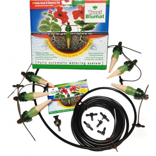 Tropf Blumat Deck and Planter Box Kit - small Fully Automatic Self Watering System. Perfect for Landscapers and Home Gardeners. It is easilly installed with a pair of scissors and connects directly to your hose, tap or rain barrel with the help of the Pressure Reducer. Includes six 5  carrots & all parts for a gravity system. Reservoir should be at least 3' above ground level. Optional pressure regulator attached to garden hose or faucet and can provide enough water for up to 500 Blumat Carrots. Reservoir should be at least 3' above ground level. Optional pressure regulator attached to garden hose or faucet and can provide enough water for up to 500 Blumat Carrots. The Tropf Blumat system is great for watering your balcony boxes, planters, hanging baskets, and row crops. It fulfills the needs of the plants on an individual basis regardless of location, light levels or plant type. Saves your plants from excessve and incorrect watering. The Tropf Blumat system is always suitable when plant groupings require consistent moisture such as vegetable gardens, bushes and flower beds, grow bags and greenhouse containers. Not only do your plants receive the right amount of water, the slow closed dripping ensures that your plants receive warmed water avoiding shock. This Deck and Planter Kit is a great way to start your customized irrigation system. The flexible system can be expanded to include up to 500 drippers. See the  Blumat Accessories for Custom Irrigation Systems  on our site for all the accessories. HOW IT WORKS The Tropf Blumat self watering system functions fully automatically. As the soil dries, its natural suction power triggers the water outlet in the Tropf Blumat Sensor allowing the water to flow. When the soil is sufficiently moist, the Tropf Blumat automatically stops. It makes no noise and does not spray. Each Blumat Outdoor Sensor in the Deck and Planter Set, which are larger than the Blumat Juniors, covers an area of 12 inches diameter. To create your own s