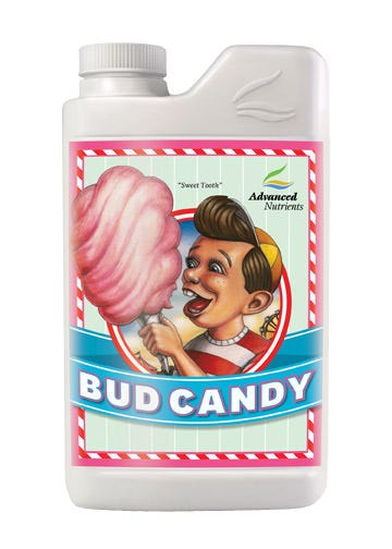 Advanced Nutrients - Bud Candy - 10 L Sweet as Candy! Imagine back into your past when you were a kid at the County Fair and you were eating cotton candy. It was pure delight that melted in your mouth and left your fingers gooey and sticky. The taste and those smells, it drove you crazy! Not only that, but you got a huge, immediate jolt of energy from all that sweet stuff...full of get-up-and-go you ran around the County Fair with your mother barely being able to keep up, and having the time of your life. Bring Bud Candy home for your plants. Savor the sweet smells and tastes you've always loved. Ingredients: 72 Trace Elements Arabinose Ascorbic Acid Citric Acid Cranberry Extract Esters Fermented Yeast Extract Galactose Glucose Grape extract L-Alanine L-Arganine L-Asparagine L-Aspartic acid L-Cystine L-Glutamic acid L-Glutamine L-Glycine L-Histidine L-Isoleucine L-Leucine L-Lysine L-Methionine L-Phenylalanine L-Proline L-Serine L-Threonine L-Trytophan L-Tyrosine L-Valine Malt Extract Maltose Polyphenolic Compounds Potassium Sulfate Raw Cane Juice Sweet Brown Molasses Vitamin B-1 (Thiamine Hydrochloride) Vitamin B-12 (Cobalamin) Vitamin B-2 (Riboflavin) Vitamin B-3 (Niacin) Vitamin B-5 (Panthothenic Acid) Vitamin B-6 (Pyridoxine) Vitamin B-7 (Biotin) Xylose