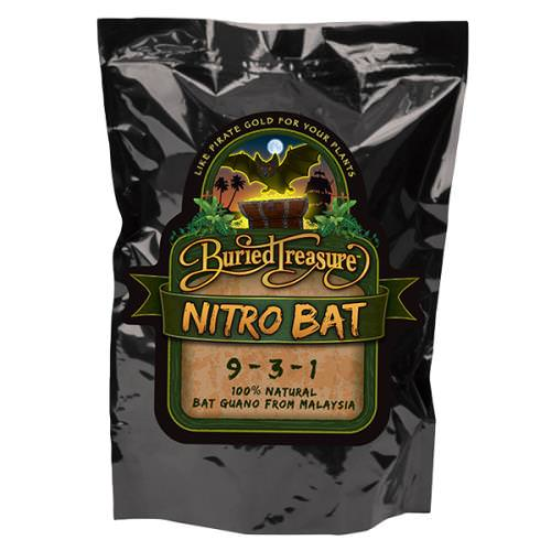 Buried Treasure Nitro Bat Guano 9-3-1 Buried Treasure Malaysian Nitro Bat is a natural fertilizer that contains nitrogen, potassium and phosphorus. Plants use Nitrogen to enhance leaf growth and plant vigor. It can be used indoors or outdoors on vegetables, herbs, flowers, ornamentals and in hydroponic applications. Not for sale in FL or NY