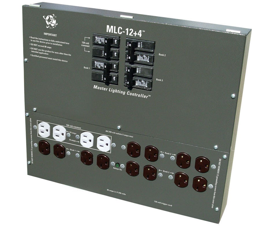C.A.P. MLC-12P4 Master Light Controller w/ (12) 240 outlets plus (4) 120 aux outlets *DISCONTINUED* Unequivocally the best choice for moderate to large scale gardens, the MLC 12XP4 lighting controllers deliver performance and value while still providing the safety and reliability you have come to expect from C.A.P. These devices are capable of controlling up to 12 lights from a single trigger cord. Simply attach a 24-hour timer or control device to the 120 volt trigger cable, set your interval and you're done. 3 year no hassle warranty.