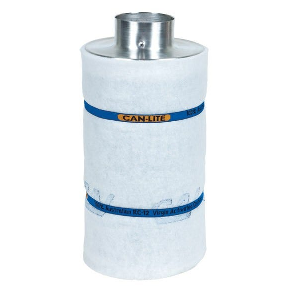 Can-Lite Carbon Filter 4 inch - 250 CFM Can Fan and Filter group has added a new series of canister carbon filters to their already dominant line of activated carbon filters. After years of research and field testing of the light-weight carbon filter, Can Fan and Filter group will proudly place their trusted name in air filtration on this new series of filters. The Can-Lite carbon filters have been developed with ease of installation, durability and effectiveness in mind. The Can-Lite carbon filter is manufactured the same way as the Original Can-Filters (proven packed bed design). The difference is in the carbon; high density carbon is used in the Can-Lite. Can Lite carbon filters are lighter than original Can Carbon filters which makes them easy to hang from walls, ceilings, and grow tents. Can Lite carbon filters are easy to install and come with pre-filters and built-in flange. All Can Lite filters are made in North America. Recommended Fan: Can Fan S 400 - 4  Inline Duct Fan Can Lite 4  x 15  Carbon Filter Specifications: Recommended Max CFM: 250 CFM Prefilter: Yes - Included Flange: Built in 4  Outside Diameter: 10 cm / 4  Height: 38.1 cm /15  Total Weight: 4.08 kg / 9 lbs Carbon Weight: 2.6 kg / 5.7 lbs Carbon Bed Depth: 2  Max Operating Temp: 80 C Built in flange 10% More Virgin Activated Australian RC Light Weight Granular Carbon than the competition 2  Bed Depth of Pure Virgin Activated Australian RC Light Weight Granular Carbon 51% Perforated Open Area For Maximum Air Flow Up to 2.5 Years Life Expectancy Weight saving aluminum top and bottom Pre filter included Ease of installation with the low overall weight