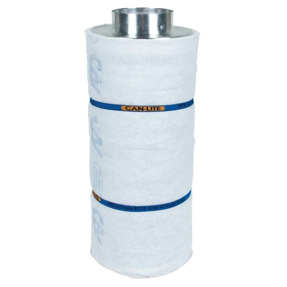 Can-Lite Carbon Filter 6 inch - 600 CFM Can Fan and Filter group has added a new series of canister carbon filters to their already dominant line of activated carbon filters. After years of research and field testing of the light-weight carbon filter, Can Fan and Filter group will proudly place their trusted name in air filtration on this new series of filters. The Can-Lite carbon filters have been developed with ease of installation, durability and effectiveness in mind. The Can-Lite carbon filter is manufactured the same way as the Original Can-Filters (proven packed bed design). The difference is in the carbon; high density carbon is used in the Can-Lite. Can Lite carbon filters are lighter than original Can Carbon filters which makes them easy to hang from walls, ceilings, and grow tents. Can Lite carbon filters are easy to install and come with pre-filters and built-in flange. All Can Lite filters are made in North America. Can Lite 6  x 24  Carbon Filter Specifications: Recommended Max CFM: 600 CFM Prefilter: Yes - Included Flange: Built in 6  Outside Diameter: 25.4 cm / 10  Height: 66 cm / 24  Total Weight: 9.07 kg / 20 lbs Carbon Weight: 6.4 kg / 14.2 lbs Carbon Bed Depth: 2  Max Operating Temp: 80 C Built in flange 10% More Virgin Activated Australian RC Light Weight Granular Carbon than the competition 2  Bed Depth of Pure Virgin Activated Australian RC Light Weight Granular Carbon 51% Perforated Open Area For Maximum Air Flow Up to 2.5 Years Life Expectancy Weight saving aluminum top and bottom Pre filter included Ease of installation with the low overall weight