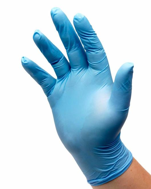 Photograph of Common Culture Blue Nitrile Powder Free 4mil Gloves - Medium (100/Box)