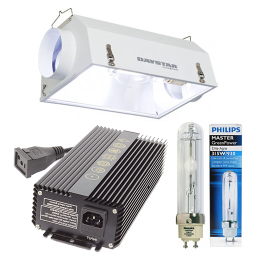 Ceramic MH 315w 6 inch Air Cooled Package Prism Lighting Science 315w Ceramic Metal Halide CM 120/240V Ballast The Prism Lighting Science 315w Ceramic Metal Halide CM 120/240V Ballasts are designed to run 315W CMH lamps safely and effectively. UL listing and multiple ballast protections such as ignition failure protection offer safe usage for your indoor environment as well maximizing the PAR output of your Ceramic Metal Halide lamps. The Prism Lighting Science 315w Ceramic Metal Halide CM 120/240V Ballast was made to have all the features and technology needed for optimal performance while staying at a competitive price. The Prism Lighting Science 315w Ceramic Metal Halide CM 120/240V Ballast comes with both a 240v power cord (NEMA 6-15P) and 120v power cord. See the Prism Lighting Science 315w Ceramic Metal Halide CM 120/240V Ballast product page for more details. Daystar AC Reflector - 6 inch Flange The Daystar AC is the answer for those wanting high performance coupled with maximum air cooling potential. Utilizing the same patented double wall design and reflective material as our flagship Daystar unit, the  AC  adds two 6  built-on flanges for cooling air flow from an optional fan. The 6  diameter encompasses most of the tunnel-like interior ensuring more complete air flow than common air cooled units. This combination allows for closer plant placement plus better growth, and improved ability to control growing area temperatures. See the Daystar AC Reflector - 6 inch Flange product page for more details. 315w Ceramic MH CMH to Mogul Base Socket Adapter Adapter for 315w CMH (LEC) lamps to fit into standard 250w to 1000w mogul sockets. Use this socket adapter to turn any standard HID grow light reflector into a CMH 315w reflector. See the 315w Ceramic MH CMH to Mogul Base Socket Adapter product page for more details. Philips Mastercolor CDM-TP Elite 315W CMH Agro Lamp T12 - 3100ºK Superior color quality. Crisp white light. Incredibly high 1.95 PPF (photosynthetic photon flux) per watt per second light