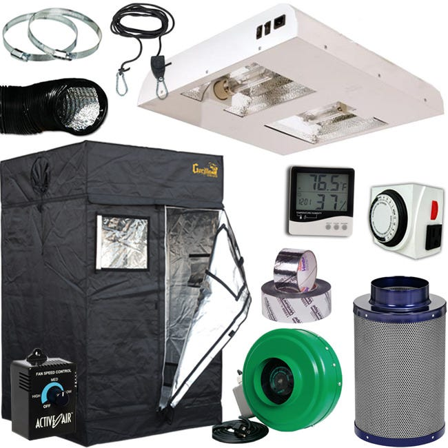 Ceramic Metal Halide CMH Grow Room Package 4' x 4' *DISCONTINUED* This item has been discontinued, Please try our selection of Ceramic Metal Halide CMH Tent Kits or 4' x 4' Grow Rooms for an alternative. Ceramic Metal Halide Tent kits with everything hand picked by our grow experts. Your choice of two CMH lighting equipment options, both options include the Package Components as well. Lighting Option 1: Sun System Diamond LEC 630 - 120 Volt w/ 3100K Lamps Sun System Diamond LEC 630 - 120 Volt w/ 3100K Lamps utilize cutting edge Light Emitting Ceramic brand technology. State-of-the-art 95% reflective German aluminum interior offers unparalleled output, reflectivity and diffusion. The Diamond LEC Brand 630 has a Philips 50/60 Hz low frequency, square wave, highly efficient electronic ballast rated for 50,000 hour ballast life. Sun System Diamond LEC 630 - 120 Volt w/ 3100K Lamps are compact and their low profile design is ideal for tents for both primary and supplemental lighting applications. Lighting Option 2: Ships Freight Only Sun System LEC 630 Air-Cooled 8 in Fixture 120 Volt w/ 3100K Lamps CMH The Sun System - LEC - 630 Air-Cooled Fixture 120V 3100K uses next generation technology to deliver beneficial UV and accelerated light spectrums using 98% reflective German aluminum and 95% reflective textured corners for maximum output! On-Board Ballast, (2) CMH Lamps included. This fixture includes 8 in low profile air-cooled fittings and accommodates standard 8 in flexible ducting. Dual Lamp configuration allows this fixture to offer an increased wattage in a single fixture design. Tent Package Components Included: - Gorilla Lite Line 4' x 4' x 6'7  - Active Air 6 inch In-Line Fan 400 CFM - Grow Crew 1/8 inch Ratchet Light Hanger (Pair) - Grower's Edge Large Display Thermometer & Hygrometer - Titan Controls Apollo 9 -- Digital Dual Timer - Duct Fan Speed Controller Adjuster - 25 ft Black Lightproof Ducting - Stainless Steel Duct & Hose Clamps INCLUDES: Gorilla Lite Li