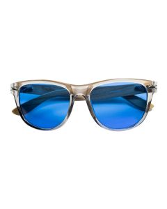 Summer Blues Optics - Clear Grey Frames, Light Bamboo Arms | HPS
