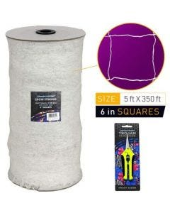 Common Culture Soft Mesh Nylon Trellis Netting Bulk Roll 5 ft x 350 ft w/ 6 in Squares + Trojan 2 Inch Straight Scissors
