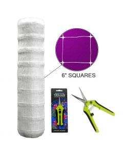 Common Culture Plastic Trellis Netting Bulk Roll 5 ft x 4,920 ft w/ 6 in Squares + Trojan 2 Inch Straight Scissors