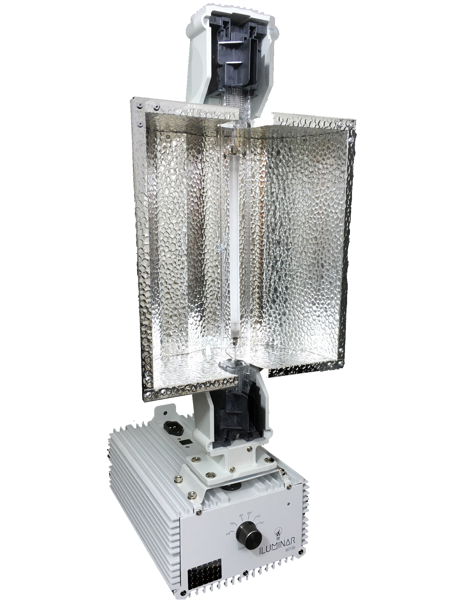 """Iluminar 1000w DE - HPS Complete Commercial Fixture 120/240v .spec-img{ text-align: left; padding: 5%; width: 85%; } The Iluminar 1000w DE - HPS Complete Commercial Fixture 120/240v is a feature-rich Double-Ended High Pressure Sodium all-in-one unit. Designed with a low shadow footprint for commercial reliability, the ILUMINAR DE-HPS 1000W unit stands toe-to-toe with any comparable fixture on the market with all the features you'd expect from a premium fixture without the premium cost. You shouldn't have to pay extra for a controllable, dimmable, high quality fixture just because it has a """"name"""" on it…we let the numbers speak for themselves with the Iluminar 1000w DE - HPS Complete Commercial Fixture 120/240v model. Iluminar 1000w DE - HPS Complete Commercial Fixture 120/240v Features: -Dimmable high frequency ballast with overdrive -Premium DE-HPS spec bulb -German Aluminum reflector with 96%> reflectivity -Interchangeable reflectors for different ceiling heights -DE Lamp Balanced mounting -Remote control compatible The major difference between the Iluminar 1000w DE - HPS Complete Commercial Fixture 120/240v and other lighting manufacturers is, quite simply, the cost. The cost to purchase, the cost to maintain, and the cost of ownership of an Iluminar 1000w DE - HPS Complete Commercial Fixture 120/240v is the lowest on the market by design. The Iluminar 1000w DE - HPS Complete Commercial Fixture 120/240v is designed with the sole purpose of making growing easier and better for you, the professional gardener. With over 20 years of direct lighting, growing, and product development experience, Iluminar offers the """"right light"""" for making your plants grow strong and healthy. Iluminar 1000w DE - HPS Complete Commercial Fixture 120/240v Specifications and Operational Data Iluminar 1000w DE - HPS Complete Commercial Fixture 120/240v Protections -Microprocessor Driven -End of Lamp Life (EOL) -Open Circuit Protection -Ignition Failure Protection -Thermal Sensing Protection """