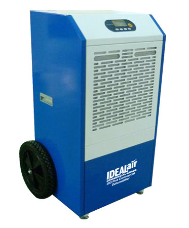 Ideal-Air 180 Pint Commercial Dehumidifier *DISCONTINUED* This item has been discontinued, We recommend Active Air Commercial 180 Pint Dehumidifier as an alternative. If too much moisture is an issue we have you covered. Ideal Air offers several choices for dehumidifiers. Each dehumidifier is designed for high quality performance and reliability. With a varied range of sizes, Ideal Air has you covered for any size room. If lack of moisture is your issue we also offer a commercial humidifier with the multi directional fogging head. The Ideal Air 180 Pint Dehumidifier comes with a passive drain hose. If you'd like a pump to push out the accumulated drain water, we recommend a condensate pump. Automatic restart allows unit to be used with humidity controllers. Easy to use digital display with temp and humidity readings, removable washable filter, 1 speed fan motor, powder coated metal casing for long life & a heavy duty compressor. Built-in defrost system is designed for operation down to 45°F. Set upright on their feet for 3 hrs prior to use. 180 Pint unit: Temp. Range: 45°F- 100°F; H2O removal: (24 hrs) 180 pints (86°F, 80% R.H.); Power: 12 Amps/1350 Watts; Supply Voltage: 110V-1 Phase-60Hz; Refrigerant: R410A. All Ideal-Air™ dehumidifiers need surge protection and a dedicated power circuit. In the event of a power failure, a spike in voltage may occur when the power is reinstated. This can damage the circuit board which is not covered under warranty. Built-in defrost system is designed for operation down to 45°F. Set upright on their feet for 3 hrs prior to use. Temp. Range: 45°F- 100°F; H2O removal: (24 hrs) 180 pints (86°F, 80% R.H.); Power: 12 Amps/1350 Watts Supply Voltage: 110V-1 Phase-60Hz; Refrigerant: R410A. All Ideal-Air dehumidifiers need surge protection and a dedicated power circuit. In the event of a power failure, a spike in voltage may occur when the power is reinstated. This can damage the circuit board which is not covered under warranty.