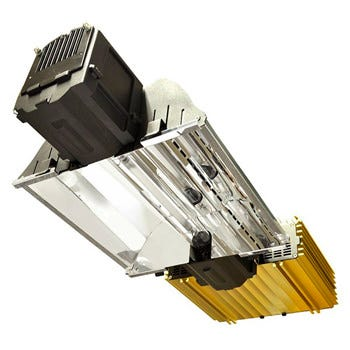 DimLux Expert Series 1000W DE EL UHF Complete Fixture - 240v If you would like assistance in setting up, organizing, and optimizing your new or already existing indoor garden, and/or getting bulk pricing on the Dimlux 1000w Complete Fixture 240v, please give us a call at 855-289-1441 or message us. In the look and feel of these all-in-one lighting systems from Dimlux you can tell that something special awaits your plants. Designed and manufactured to impeccably high standards, the sleek and stylish gold casing and blindingly shiny reflector are clearly visible indicators of the sensational quality on offer and the truly outstanding performance capabilities. Each Dimlux Expert Lighting System consists of a cutting-edge Dimlux Xtreme Ballast, a dazzling, remarkably flexible Alpha Optics 98 Reflector and a powerful and efficient Greenpower lamp – all brought together and housed in a single heavy duty unit. The Dimlux Xtreme Ballast gives you 7 separate dim options – considerably more than any other competing product – so you can precisely alter light output to match the changing demands of ever-developing plants. Two boost settings are available for generating up to 15% extra lumens than is advertised on the lamp, and the Soft Start and Soft Off features ensure you don't get sudden surges of power when switching between  on  and  off  modes, protecting the product and upholding your safety. Utilising superior electronic technology, the Xtreme Ballast operates very quietly and very efficiently, promising to save you money over time on you energy bills. It is reassuringly fireproof, employing a built-in processor to monitor the ballast-to-lamp connection and an LED display to inform you of the operating status, cutting the power in the event of a bad contact or short circuit. If you chose to link up your light system(s) to a Maxi Controller (recommended – and an astonishing 160 units can be accommodated!), this sensational device will manage them all at once taking into 
