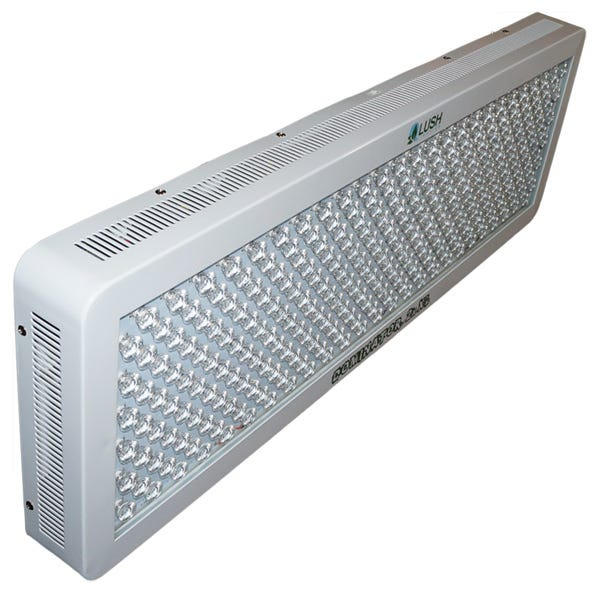 Lush Lighting - Dominator 2x XL LED Grow Light Why LUSH Lighting Is The Best Choice- Benefits: High intensity LED grow light designed specifically for bloom fruits and vegetables. This patented blend of LED's will create a harmonic utopia in which your plants will thrive! Easy plug and play installation. Lifetime expectancy up to 50,000 hours. Powerful 650w LED grow light to spank top of the line 1000w HPS grow light. Low heat emissions eliminate the need for excessive cooling and ventilation costs. Low radiant and ambient temperatures reduce de-humidification costs. Eco-friendly: Mercury free. Safe: Reduces risk of fire. Slender design allows for more growing area. Two lens that direct light downward, eliminating the need for extra reflecting materials and doubles lux intensity. Internal cooling fans and large aluminum heat synch plate keeps unit operating below 100º F. Mounting hardware included. Tempered steel construction, built to last. 90 day money back guarantee. 3 Year manufacture warranty. Designed specifically to fuel the entire photosynthesis processes. Horizontal and Vertical gardens. Grow tents and large green houses. Difficult areas like corners and closets. Soil, Aero or Hydroponic gardens. Lush Lighting's products produce the most energetic photons plant's can absorb, UV light! Intense enough to turn green twist tie blue in only weeks. Watch your plants use this energy to increase its natural taste, aroma and potency! Requires 5  minimum clearance on all sides. Operating open-air ambient temperature range for rated life is 65º F to 90º F. Humidity range for rated life is between 10% and 60%. Dry locations only Contains UV light. Do not look direct at fixture! Light contains energy and each color has a different voltage. But, why is this so important for you? Light is the fuel source for photosynthesis. Each light absorbing pigment in your plants need this fuel, and each of these light absorbing pigments are sensitive to the voltage of this fuel. Ligh