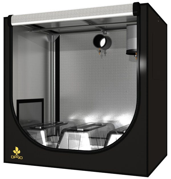 Secret Jardin Dark Propagator DP90, 36 x 24 x 36 in DP90 (90x60x90cm) Up to 2 x 77 Rockwool cubes trays compatible Optional Hydro-Tray 40x60x2.5 cm available Transverse venting windows system Light-proof, waterproof, the Secret Jardin DARKPROPAGATOR are some  stations alternatively  lined with 95% reflective hammered effect mylar fabric (190D), to increase light intensity and improve light distribution. Pre-equipment: 2 ventilation windows 1 extraction sock and 1 cables sock Other Notes: Hight light proofing--Level I Mylar lined, highly reflective (95%) Washable material inside and outside The DP90 is a small room for seeding and cutting: It can be setup in a living room, being light proof It can produce up to 144 cuttings at a time - 2 x 7 raws x 11 cubes of 2.5 cm side Can also be used as a small Grow Room station (growing, mother plants & flowering) Can be equiped with TN1x55 or TN2x55 in all temperatures Also compatible with the DP120 Trays and Green Cover (up to 3 side by side)  For all uses