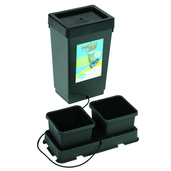 AutoPot - easy2grow Kit A great introduction to AutoPot watering systems, the easy2grow is great for any scale gardener from house plants, a backyard patio to acres of large scale greenhouses. The easy2grow system will water & feed your plants using 8.5 litre pots without the need for pumps, timers and electricity. It provides a fully automatic supply of water and nutrients, with a built in wet/dry cycle to mimic natural systems. Whether using the easy2grow starter kit or multiple easy2grow extension kits on a vast commercial scale this system provides everything the plant requires. This system can be used as a hydroponic set up or with the medium/substrate of your choice. By operating automatically and reliably the easy2grow system allows gardeners to relax, to go away for weekends and still be sure of healthy plants and bumper harvests. 1x 12.4 Gallon tank & lid 1x ¼  top hat grommet 1x 2Pot tray and lid 2x 2.2 gallon pots 1x AQUAvalve 1x ¼  inline tap 2x root control discs 60  of ¼  pipe 1x ¼  golf filter