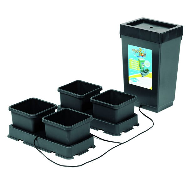 AutoPot - easy2grow Kit - 4 Pot A great introduction to AutoPot watering systems, the easy2grow is great for any scale gardener from house plants, a backyard patio to acres of large scale greenhouses. The easy2grow system will water & feed your plants using 8.5 litre pots without the need for pumps, timers and electricity. It provides a fully automatic supply of water and nutrients, with a built in wet/dry cycle to mimic natural systems. Whether using the easy2grow starter kit or multiple easy2grow extension kits on a vast commercial scale this system provides everything the plant requires. This system can be used as a hydroponic set up or with the medium/substrate of your choice. By operating automatically and reliably the easy2grow system allows gardeners to relax, to go away for weekends and still be sure of healthy plants and bumper harvests. 1x 12.4 gallon tank & lid 1x ¼ top hat grommet 2x 2Pot tray and lid 4x 2.2 gallon pots 2x AQUAvalve 2x ¼  inline tap 4x root control discs 10ft of ¼  pipe 1x ¼  golf filter 2x ¼  tee