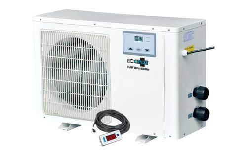 "EcoPlus Commercial Grade Water Chiller -- 1 HP Water chiller that can chill between 100 to 250 gallons of water. 510 watts with 1  inlet and outlet fittings for irrigation tubing. Recommended submersible pump size is 1056 GPH. 5,115 BTU's of cooling. See PDF instructions for performance curve comparing water temperature chilling over time. Can be used with fresh water and salt water applications. Suitable for use with reservoirs, hydroponic systems, fresh and salt water aquariums. Features a commercial-grade titanium heat exchanger for optimum performance and corrosion resistance. High-quality Japanese compressor is extremely efficient and reliable. Heavy-duty galvanized steel housing with a durable powder coated finish. Digital LCD display allows for easy operation. Remote temperature controller with a 30 ft. cord allows user to monitor & adjust chiller settings, when the unit is installed in a remote location. Auto restart and temperature memory in the event of a power failure. Uses environmentally friendly R410A refrigerant. Comes with 2 fittings to allow chiller to be plumbed with 1"" hard PVC pipe or 1"" flexible tubing. Note: High ambient air temperature will decrease cooling capacity. Allow these units to set upright for 3 hours prior to setup."