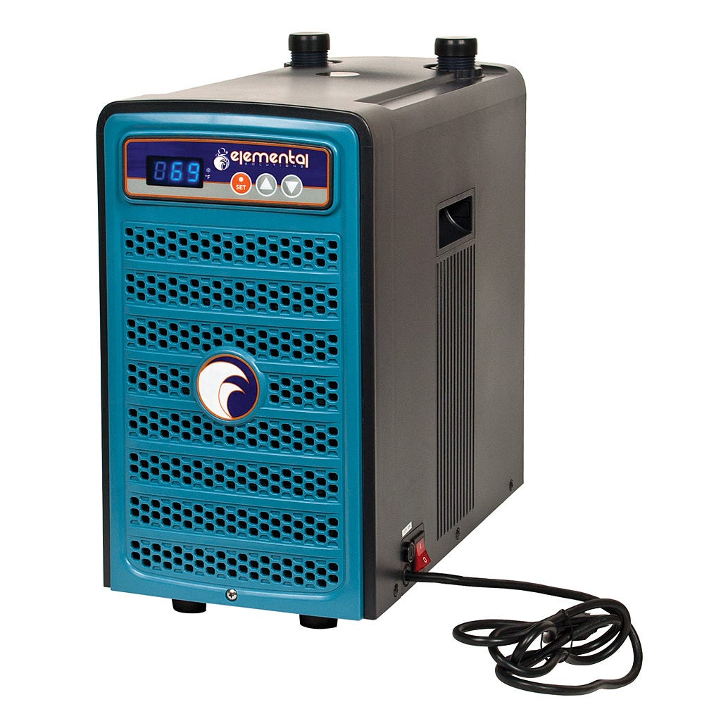 """Elemental H2O Chiller, 1/10 HP *DISCONTINUED* This item has been discontinued, Please try our selection of Water Chillers for an alternative. The 1/10 HP Elemental H2O Chiller utilizes a microcomputer control system and environmentally friendly R134a refrigerant to maintain a stable, cool temperature in water tanks. The 120V, 170W energy-efficient H2O Chiller has a flow rate of 66.5-410 gph and features a temperature memory system, an anti-corrosive evaporator, auto-restart and an LED display. This unit has a capacity of 13-40 gallons and is recommended for use with water pumps that push 130-280 gph. The H2O Chiller is compatible with 1/2"""" or 3/4"""" ID tubing and carries a one-year warranty."""