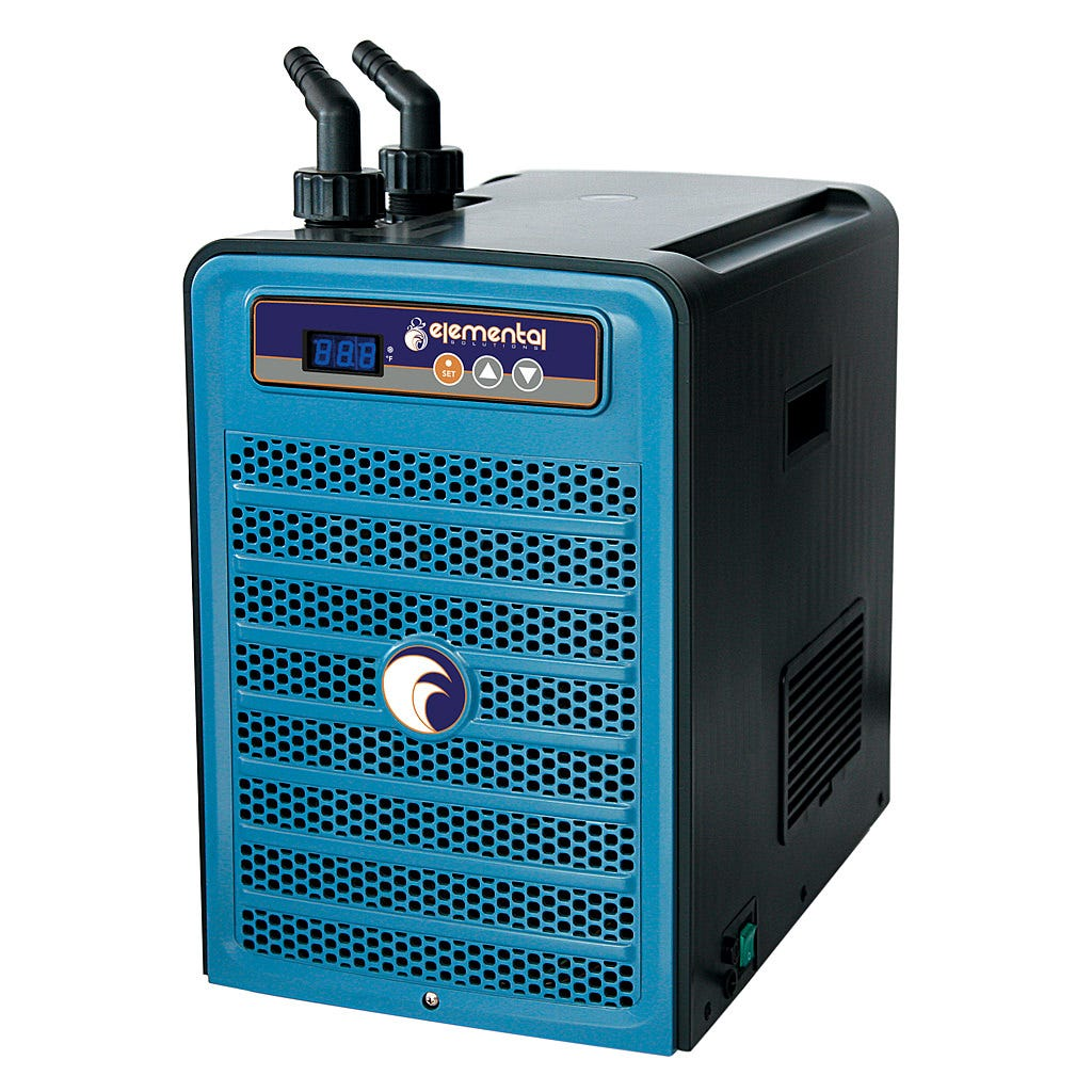 "Elemental H2O Chiller, 1/4 HP The 1/4 HP Elemental H2O Chiller utilizes a microcomputer control system and environmentally friendly R134a refrigerant to maintain a stable, cool temperature in water tanks. The 120V, 310W energy-efficient H2O Chiller has a flow rate of 264-660 gph and features a temperature memory system, an anti-corrosive evaporator, auto-restart and an LED display. This unit has a capacity of 26-80 gallons and is recommended for use with water pumps that push 250-600 gph. The H2O Chiller is compatible with 3/4"" or 1"" ID tubing and carries a one-year warranty."