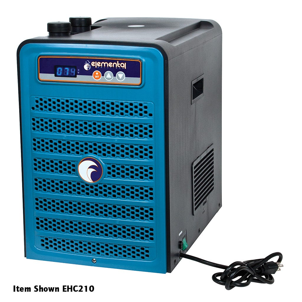 "Elemental H2O Chiller, 1/2 HP The 1/2 HP Elemental H2O Chiller utilizes a microcomputer control system and environmentally friendly R134a refrigerant to maintain a stable, cool temperature in water tanks. The 120V, 420W energy-efficient H2O Chiller has a flow rate of 317-793 gph and features a temperature memory system, an anti-corrosive evaporator, auto-restart and an LED display. This unit has a capacity of 50-135 gallons and is recommended for use with water pumps that push 30-800 gph. The H2O Chiller is compatible with 3/4"" or 1"" ID tubing and carries a one-year warranty."