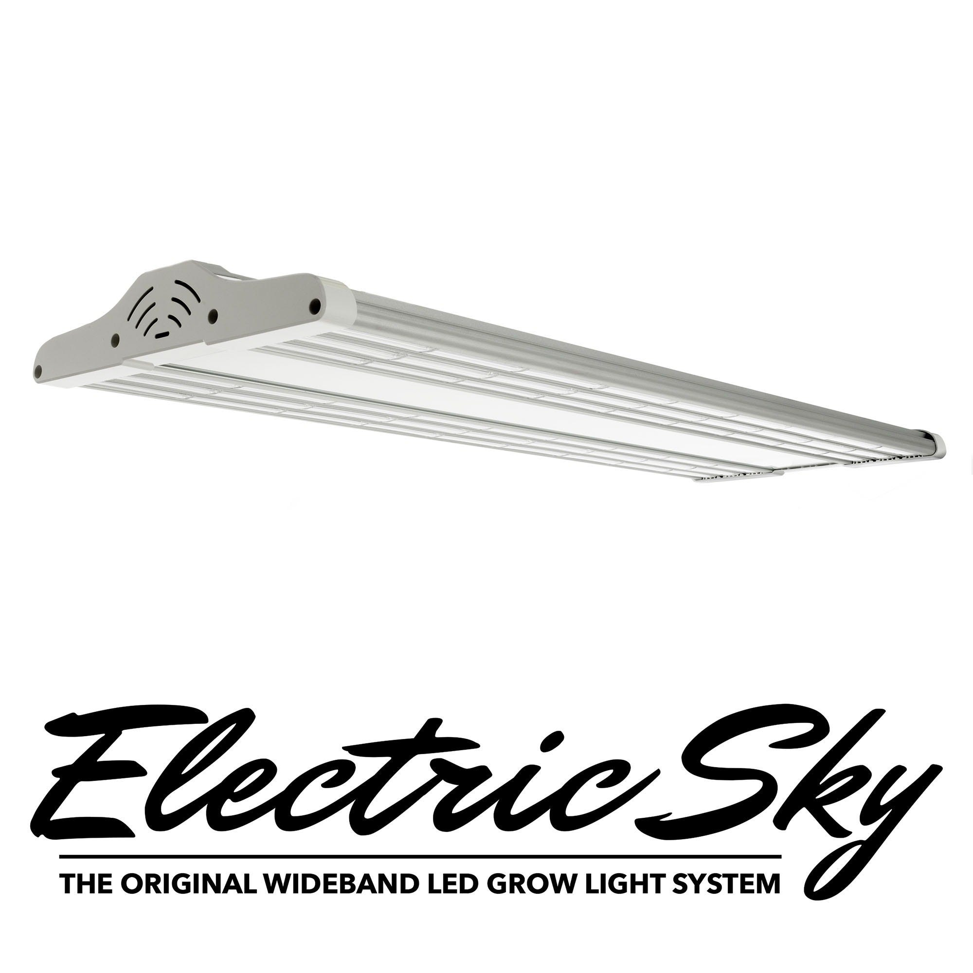 """Electric Sky ES300 LED Grow Light ELECTRIC Sky 300 (ES300) the Original Wide-Band LED Grow Light System If you're a professional producer who expects uncompromising quality in results and you demand the ultimate way to boost your yields in weight, potency and Terpenes quality with a BLAZING FAST growing/flowering time, then the Electric Sky 300 is the SECRET WEAPON that can make it happen. No other grow light in the industry can match the Electric Sky in growing and flowering power. Grower-Proven Results Flowers Up To 2.5'x5′ (Grow Tent) 2x ES300 Replace 1000W HPS In Stock – Discrete Shipping Worldwide 90 Day Money Back Guarantee 3 Year Warranty Ships from USA – Portland, OR ETL Listed for Quality & Safety The patent-pending GS1 Wideband Spectrum technology not only replicates the exact power of the Sun's wavelengths that plants thrive in, the ES300 gives your plants even more of what they're looking for. It's like putting your entire crop on steroids! The Electric Sky 300 saturates your plant's HIDDEN GROWTH CENTERS with a unique, scientifically proven recipe combination of growing and flowering light wavelength nutrients your plants understand. The ES300 unleashes any plant strain's true optimum potential, delivering explosive yield results up to one to two weeks faster… you'll see your profits soar because you'll require a fraction of the electrical power, nutrient, and water costs then with any other LED light system you've tried before. GS1 WIDEBAND SPECTRUM TECHNOLOGY lets your plants """"see"""" and soak in what traditional LEDs can't give them: a scientific nutrient blend through spectral light wavelengths. GIVE YOUR PLANTS THE CORRECT INFORMATION: When plants don't have enough infrared light, they're """"flying blind"""". They can't """"see straight"""" or """"think straight"""". All other LED's prevent plants from making use of all the light they re"""
