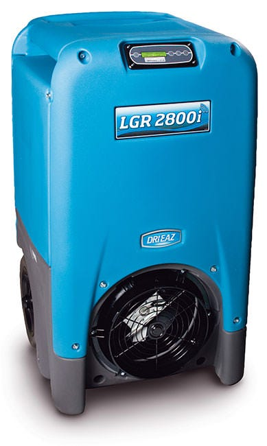 Dri-Eaz LGR 2800i Dehumidifier - 130 Pints/Day Dri-Eaz LGR 2800i Dehumidifier The Dri-Eaz LGR 2800i is designed to work intelligently, with built-in sensors and adaptive controls. The Dri-Eaz LGR 2800i puts the  i  in intelligent dehumidification. The powerful LGR dehumidifier continuously monitors its own system performance and automatically adjust airflow and defrost cycles for maximum efficiency. The 2800i can even operate in temperatures up to 120F. The control panel on the LGR 2800i displays inlet and outlet conditions. Lead time varies. Can be from a couple days to 2 weeks. Please call 855-289-1441 for lead times. The Dri-Eaz LGR 2800i is a Low Grain Refrigerant (LGR) dehumidifier. This means it can remove even more water than a conventional refrigerant dehumidifier. Additionally, the LGR 2800i is incredibly energy efficient, using only 8 amps at AHAM conditions (80F/60%RH) to produce 130 pints/day. If you want to dehumidify intelligently, choose the LGR2800i. New: All 2017 LGR i-Series units include enhanced control systems that deliver even better water removal performance, plus convenient new features such as grain depression information and filter replacement reminders to keep your drying systems at peak efficiency. Features Built-in thermo-hygrometer monitors: Displays inlet and outlet conditions Automatic humidistat controls Automatic high temperature mode - no manual input required. Legendary Dri-Eaz rotomolded housing is dent and scratch resistant. Unit automatically restarts if power is interrupted during operation. Technical Specifications Power: 8 Amps, 115 Volts, 920 Watts Operating Range: 33-125F Water Removal at AHAM Conditions (80F/60%RH): 130 pints/day Water Removal at 90F/90% RH: 200 pints/day Water Removal at 80F/20% RH: 20 pints/day Max Process Air: 400 CFM Air Filter: 3M HAF Filter (Dri-Eaz part no. F421) Dimensions: 40.5  H x 23  D x 24  W Power Cord: 25 ft detachable Hose: 40 ft. Construction: Rotomolded polyethylene shell Safety: ETL cer