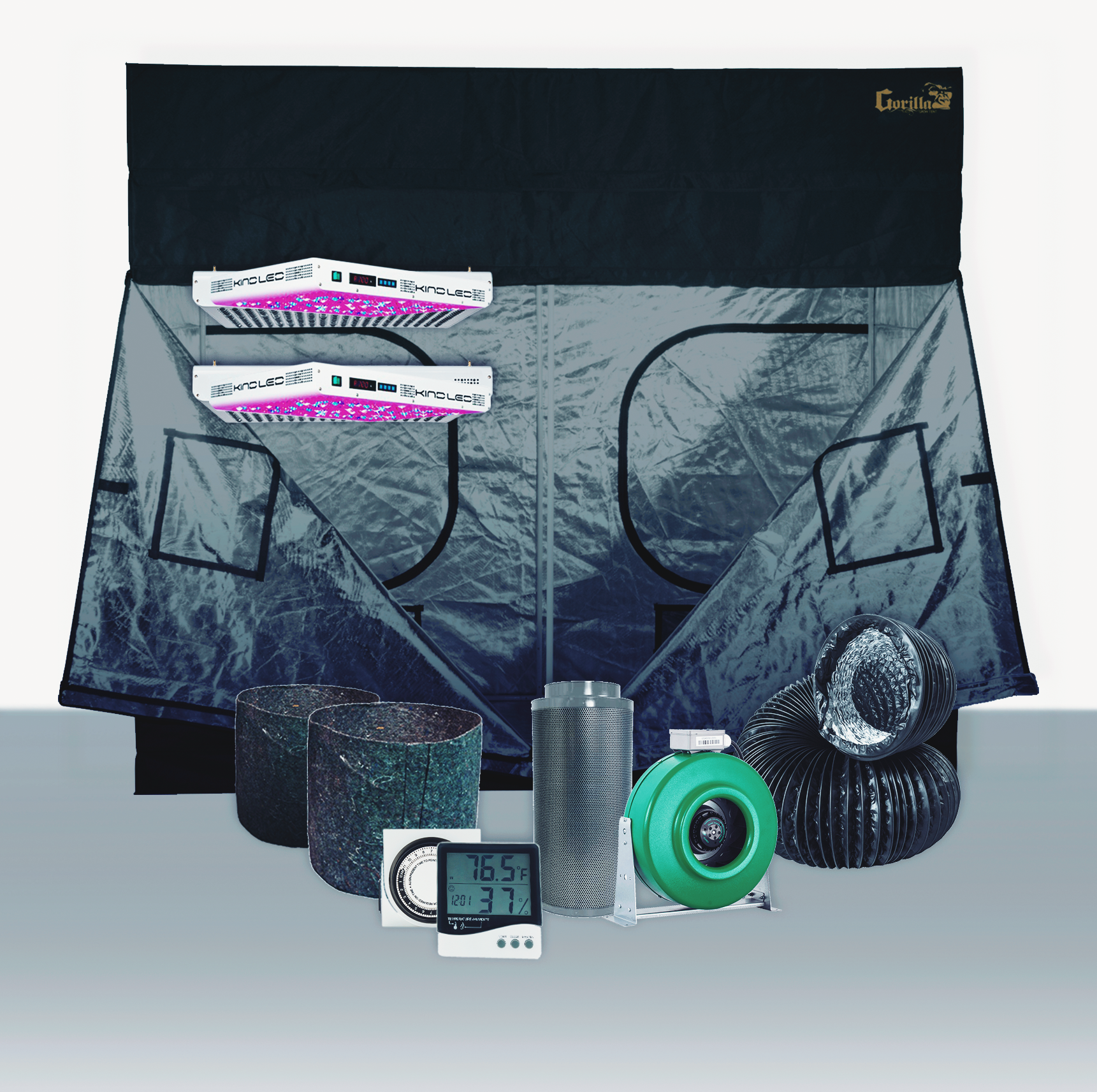 5' x 9' Grow Room 1000W KIND LED Coco Complete Grow Tent Package 5' x 9' Grow Room 1000W KIND LED Coco Complete Grow Tent Package This complete grow room tent package includes everything that you need to get started with discretely growing at home. Experienced growers designed every aspect of this tent package. They chose the parts of this package to create the best grow experience at an affordable price. Included in this Grow Tent Kit: Gorilla Grow Tent 5' x 9' Growers House Carbon Filter 8  x 24  750 CFM Active Air 8 inch In-Line Fan 720 CFM 8 inch x 25' Black Lightproof Ducting w/Clamps Silver Flex Duct Tape -- 5 Yards 4 x Hurricane 6 inch Clip Fan - Classic Series 2 x Kind LED K5 XL1000 Grow Light 4 x Grow Crew 1/8 inch Ratchet Light Hanger (Pair) 2 x Titan Controls Apollo 8 -- 24 Hour Dual Timer Grower's Edge Large Display Thermometer & Hygrometer 30 x Growers House Essentials Round Fabric Charcoal Pot - 3 Gallon 30 x Gro Pro Heavy Duty Black Saucer - 12 in Grower's Edge Soft Mesh Trellis Netting 5 ft x 15 ft w/ 6 in Squares General Hydroponics pH Control Kit Gorilla Grow Tent 5' x 9' Gorilla Grow Tents are professionally designed grow tents that are ideal for experts and perfect for beginners. The expert configuration positions ducting ports where they should be. Large EZ View windows offer easy grow snapshots without compromising your environment. The doorways offer 360 degree convenient access. The larger layouts provide frustration free maneuvering. Thick material and large 10  double cinching ducting ports make maintaining an ideal growing space a snap. Grow easy on yourself. Grow Gorilla. Gorilla Grow Tents feature a patent pending adjustable height extension kit that gives you the ability to increase your growing height from 7' to 8' or even 9' tall. Your plants can grow up to 50% larger. Never again will you have to worry about your plants outgrowing your lights and room. Now you can experience crouch free maneuvering without banging your head on low ha