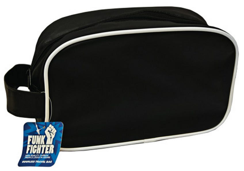 """Funk Fighter Travel Bag The Funk Fighter Travel Bag has high-quality carbon lining to trap and eliminate odors. It measures 11"""" x 3.75"""" x 6.75"""" and features the main zippered compartment with an extra layer of carbon lining beneath the zipper for superior odor-trapping capabilities, and a convenient handle on the side. Easy to restore after long term use, simply place your Funk Fighter bag in a dryer on low for a few minutes to shake up the carbon within and reactivate its smell fighting powers."""