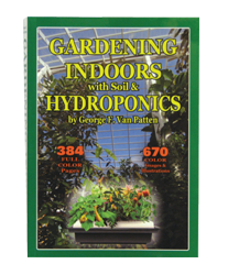 Gardening Indoors with Soil & Hydroponics This fifth edition of Gardening Indoors with Soil & Hydroponics, a best seller since 1986, is expanded and completely rewritten with all new information. More than 670 full color photos, drawings, charts and graphs illustrate every detail of this authoritative easy-to-understand book. This book is very user-friendly, easy to read. Numerous simply cultivation solutions make it appealing to novice gardeners. Seasoned gardeners are also able to find answers to all their questions. Discover how to achieve the biggest, best yields even with limited space and a small budget. The former title, Gardening Indoors the Indoor Gardener's Bible, changed to Gardening Indoors with Soil & Hydroponics. Soft Cover - 374 pages.