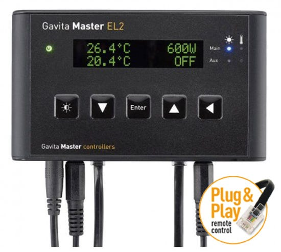 Gavita Master Controller - EL2 Dimmable electronic ballasts have been around for many years now. They offer flexibility when you need lower light intensities, for example during the vegetative phase or when climate conditions are so extreme that a healthy climate is hard to maintain. Moreover they can be boosted to optimize lamp performance and efficacy. Unfortunately it is not always easy to adjust multiple ballasts, or be there at the right moment when you need to dim your lights. Another problem is the high current that ballasts require when switched on at the same time (the inrush current). You need elaborate contactor equipped switchboxes to switch your ballasts on and off. The Gavita Master Controllers (in combination with suitable Gavita e-series ballasts, or Gavita Pro E-series Complete Fixtures) offer a solution for all these issues, even with a cost reduction when you look at larger climate rooms. Our e-series ballasts no longer require a switchboard to be switched on and off, and no longer need their own switch to dim or boost them. Now you can just touch a few buttons on your controller to be in complete control of all your connected ballasts at once. Our Master controllers do this, and much more! Available Models The Gavita EL controller series currently comprises of two models: The EL1 and EL2. Both feature auto-dim, auto-shutdown, sunrise/sunset and timer. The EL1 has one output channel, while the EL2 has 2 output channels and additional outputs for External Contactor Modules and alarm contacts. For one room without auxiliary equipment or alarm contacts, the EL1 is the best choice for you. If you require switched auxiliary equipment during lights on / off, alarm contacts and/or a 2 room 12/12 setup, the EL2 is most suitable. Functionality Overview Easy Installation Installing the Master Controller is a breeze: it's a matter of plugging in, setting the dials of the ballasts to EXT (External control) and looping the low voltage control cord from the controller to your ballasts - all