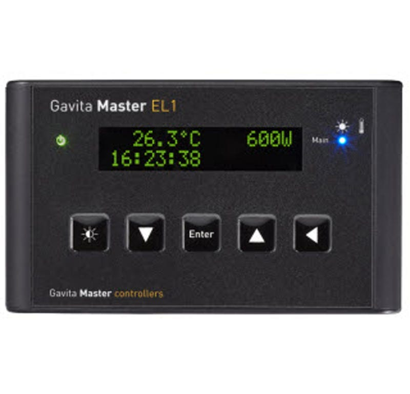 Gavita Master Controller - EL1 The EL1 has one output channel, and is best choice for use for one room without auxiliary equipment or alarm contacts. If you require switched auxiliary equipment during lights on / off, alarm contacts and/or a 2 room 12/12 setup, the Gavita Master Controller EL2 is most suitable. Dimmable electronic ballasts have been around for many years now. They offer flexibility when you need lower light intensities, for example during the vegetative phase or when climate conditions are so extreme that a healthy climate is hard to maintain. Moreover they can be boosted to optimize lamp performance and efficacy. Unfortunately it is not always easy to adjust multiple ballasts, or be there at the right moment when you need to dim your lights. Another problem is the high current that ballasts require when switched on at the same time (the inrush current). You need elaborate contactor equipped switchboxes to switch your ballasts on and off. The Gavita Master controllers (in combination with suitable Gavita e-series ballasts, or Gavita Pro Complete Fixtures) offer a solution for all these issues, even with a cost reduction when you look at larger climate rooms. Our e-series ballasts no longer require a switchboard to be switched on and off, and no longer need their own switch to dim or boost them. Now you can just touch a few buttons on your controller to be in complete control of all your connected ballasts at once. Our Master controllers do this, and much more! Available models The Gavita EL controller series currently comprises of two models: The EL1 and EL2. Both feature auto-dim, auto-shutdown, sunrise/sunset and timer. The EL1 has one output channel, while the EL2 has 2 output channels and additional outputs for External Contactor Modules and alarm contacts. For one room without auxiliary equipment or alarm contacts, the EL1 is the best choice for you. If you require switched auxiliary equipment during lights on / off, alarm contacts and/or a 2 room 12/12 setup, the EL2 is mos