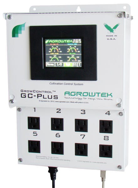 AgrowTek GC-PLus Control System with 8 120V/15A oulets Integrated Cultivation Control System The GrowControlTM GC-Plus control system features many of the same features and components of the GC-Pro in an easy to set-up, plug and grow package. Manage, monitor, and control all aspects of your climate equipment and hydroponics system including automatic dosing. With 8 programmable outlets integrated into the controller, the operator simply pugs equipment or trigger cords into the controller; there are no external relays or hard-wiring required. Includes all of the standard intelligent functions you would expect in a climate control system including hot-fire prevention, output delay sequencing to prevent load spikes, alarms and alerts, trending and data logging, remote access and more! What Can AgrowTek Control System Do? Sends Email / MMS Alerts - Get Updates from Any SmartPhone Access Your Grow From the Internet Sensor Options Dual-Zone Control Free PC Software FlexnologyTM The GC-Plus is built with Agrowtek's exclusive FlexnologyTM which allows the grower to tailor the controller's functions precisely to their operation's requirements. A large 'tool box' of control functions is provided for the user to select from and assign to the outlets as required for the equipment to be controlled. Complete Climate Control Fully automate up to two zones with independent controls for cooling, heating, humidification, dehumidification, CO2 injection and ventilation with boost timing, lighting timers and light flip box controls, vent/shade/curtian position controls for greenhouses. Featuring a large array of different timers including precision repeat cycle timers (in minutes or seconds,) 24-hour timers, 24-hour cancellation timers, combination 24-hour cycle timers, off-delay timers, re-start delay timers and hour meters. Fully Automated Hydroponics Dosing (applicable models) GrowControlTM systems take the manual work out of maintaining a hydroponics system. Fully automate and schedule reservoir changes, nutrient dosing and pH control.