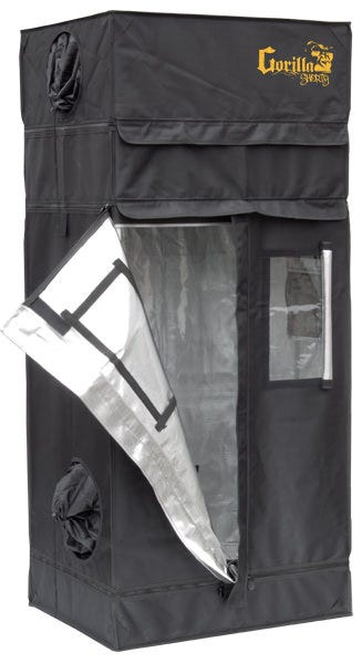 """Gorilla Grow Tent Shorty 2' x 2.5' GORILLA GROW TENT'S NEW SHORT GROW TENT IS MAKING BIG WAVES IN THE INDUSTRY We are proud to announce the newest member of """"the band"""" at Gorilla Grow Tent. The Gorilla Grow Tent Shorty continues the Gorilla legacy by redefining possibility in the grow tent industry. Not only does the Shorty exceed expectations as the THICKEST and STRONGEST tent on the market, we are now the solution for those facing unique height restrictions. The Shorty stands proudly at 4'11"""" tall, creating the ideal space for basement and attic growers. Not tall enough for you? We have included 9 inch extension kits that bring the max height to 5'8″!!!! OUR SHORTY LINE HAS ALL THE SAME FEATURES INCLUDED IN OUR STANDARD GGT INCLUDING: Height Adjusting with the patent pending adjustable extension poles, allowing you to increase the height of your grow tent from 4'11"""" to 5'8″ Super thick 1680D fabric All steel frame & corners that can support over 300 lbs Super strong industrial zippers A tool pouch, sturdy spill tray, and EZ view windows Unique Diamond Reflective interior Infrared blocking roof Intelligently designed duct ports & vents Bug resistant adjustable micro mesh pre-filters Attention to detail EVERYWHERE No more compromising on quality because the best tent won't fit in your basement or attic. The Shorty was developed by and for growers that must have a Gorilla growing experience, but just at a fraction of the height. WELCOME TO THE NEXT GENERATION OF GROW TENTS. HEIGHT: GORILLA GROW TENTS feature a patent pending adjustable height extension kit that gives you the ability to increase your growing height from 7′ to 8′ or even 9′ tall. Your plants can grow up to 50% larger. Never again will you have to worry about your plants outgrowing your lights and room. Now you can experience crouch free maneuvering without banging your head on low hanging lights. LITE LINE carries the Gorilla torch with its height adjusting technology. While these tents have a lower st"""