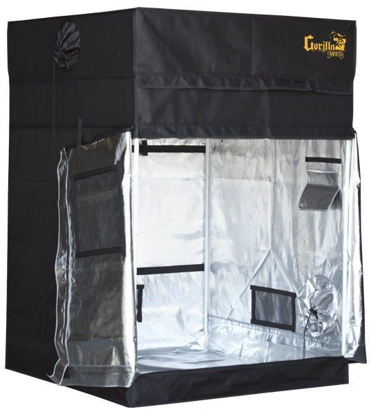 """Gorilla Grow Tent Shorty 4' x 4' GORILLA GROW TENT'S NEW SHORT GROW TENT IS MAKING BIG WAVES IN THE INDUSTRY We are proud to announce the newest member of """"the band"""" at Gorilla Grow Tent. The Gorilla Grow Tent Shorty continues the Gorilla legacy by redefining possibility in the grow tent industry. Not only does the Shorty exceed expectations as the THICKEST and STRONGEST tent on the market, we are now the solution for those facing unique height restrictions. The Shorty stands proudly at 4'11"""" tall, creating the ideal space for basement and attic growers. Not tall enough for you? We have included 9 inch extension kits that bring the max height to 5'8″!!!! OUR SHORTY LINE HAS ALL THE SAME FEATURES INCLUDED IN OUR STANDARD GGT INCLUDING: Height Adjusting with the patent pending adjustable extension poles, allowing you to increase the height of your grow tent from 4'11"""" to 5'8″ Super thick 1680D fabric All steel frame & corners that can support over 300 lbs Super strong industrial zippers A tool pouch, sturdy spill tray, and EZ view windows Unique Diamond Reflective interior Infrared blocking roof Intelligently designed duct ports & vents Bug resistant adjustable micro mesh pre-filters Attention to detail EVERYWHERE No more compromising on quality because the best tent won't fit in your basement or attic. The Shorty was developed by and for growers that must have a Gorilla growing experience, but just at a fraction of the height. WELCOME TO THE NEXT GENERATION OF GROW TENTS. HEIGHT: GORILLA GROW TENTS feature a patent pending adjustable height extension kit that gives you the ability to increase your growing height from 7′ to 8′ or even 9′ tall. Your plants can grow up to 50% larger. Never again will you have to worry about your plants outgrowing your lights and room. Now you can experience crouch free maneuvering without banging your head on low hanging lights. LITE LINE carries the Gorilla torch with its height adjusting technology. While these tents have a lower star"""
