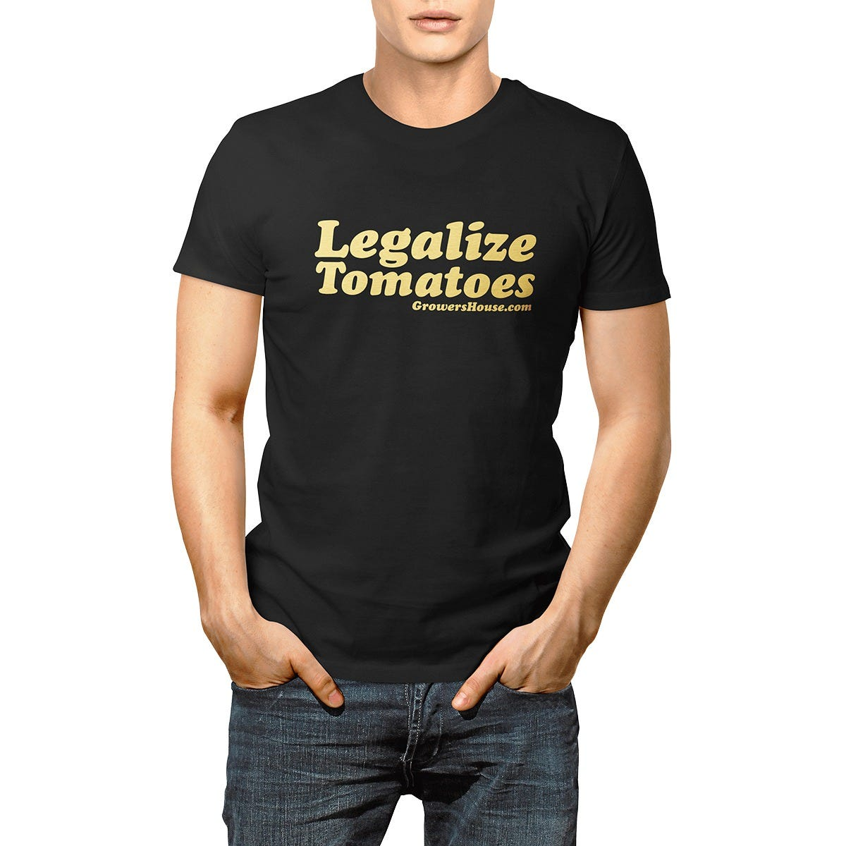 Growers House Legalize Tomatoes T-Shirt - Gold on Black Metallic Gold on Black Show your One Love, for Tomatoes! Make a statement with out saying... so many words. Represent the fruits of your labors while practicing on those tomato plants with our Official Growers House  Legalize Tomatoes  T-Shirt! Quality screen printed on Next Level Apparel, Premium Jersey, soft brushed, 60% Cotton 40% Polyester, Our guys say this is a  Classic Fit  style Tee. We shelled out for really nice premium jersey, its soft not like a cheap giveaway shirt. It is cut like a  Classic Fit  tee shirt, not boxy or oversized, and not  fitted . A very true to size shirt. If you like a looser fit we recommend you order the next size up. Check out the GH Teespring Store for even more color options and Woman's fit tees!