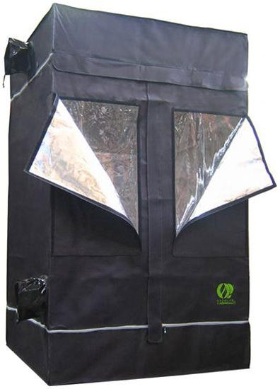 GrowLab 120 - 3ft 11in x 3ft 11in x 6ft 7in The GrowLab GL120 has all the features you could ask for - and more! Outfit the GrowLab with the ventilation fan, lighting system and growing system of your choice and you will have the brightest, slickest, and most affordable grow room available. Hydroponic growers and soil lovers alike are totally smitten with the GrowLab™ 120 v 2.0 – not least because it perfectly accommodates a 3' x 3' growing table (i.e. flood and drain, NFT multi-duct, or dripper system) with a little extra space around the side for overhanging plants. You can illuminate the GL120 v 2.0 with a single 400-watt HID grow light (HPS or MH) or you can comfortably step up to a 600-watt if your plants require more intense lighting conditions. Intake/Exhaust: 5 x 8  / 200mm (2 ports for air-cooling of reflector plus 3 additional ports. All ports are double-layered and fully adjustable to fit smaller diameter ducting and equipment) Cord access: 2 x 4  / 100 mm Growlab Model GL120: 3'11  x 3'11  x 6'7  (outside dimensions) Increased weight capacity - roof cross-members easily support 100 pounds Sturdy powder coated framework - helps protect against rust and gives a cleaner look; thicker than previous models Highly reflective interior for improved lighting performance Thermally protected - tent material reflects 97% of all radiant heat for superior insulation Completely non-toxic - will not react under light and heat, and no off-gassing to harm plants Improved fabric & zippers - thicker fabric than previous models, with the best zippers on the market Moveable roof cross-members - easily adjust lighting and accessories; pieces snap into desired place for better functionality Multiple intake/exhaust ports, including two ports opposite each other at reflector level for air-cooling of lighting system on most models Adjustable fan and ducting attachments - no more clamps or reducers needed! Waterproof floor - a second floor that is removable for easy cleaning between crops