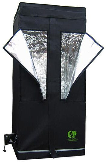 GrowLab 80 - 2ft 7in x 2ft 7in x 5ft 11in The GrowLab GL80 has all the features you could ask for - and more! Outfit the GrowLab with the ventilation fan, lighting system and growing system of your choice and you will have the brightest, slickest, and most affordable grow room available. Increased weight capacity - roof cross-members easily support 100 pounds Sturdy powder coated framework - helps protect against rust and gives a cleaner look; thicker than previous models Highly reflective interior for improved lighting performance Thermally protected - tent material reflects 97% of all radiant heat for superior insulation Completely non-toxic - will not react under light and heat, and no off-gassing to harm plants Improved fabric & zippers - thicker fabric than previous models, with the best zippers on the market Moveable roof cross-members - easily adjust lighting and accessories; pieces snap into desired place for better functionality Multiple intake/exhaust ports, including two ports opposite each other at reflector level for air-cooling of lighting system on most models Adjustable fan and ducting attachments - no more clamps or reducers needed! Waterproof floor - a second floor that is removable for easy cleaning between crops