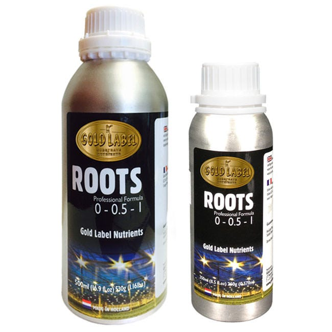 Gold Label Nutrient - Roots - (0-.5-1) Gold Label Roots is a highly concentrated root and growth stimulator with biological extracts of kelp, humic acids and high quality amino acids. We incorporate EDDHMA chelated Fe which is the most stable Fe available on the market. Use Gold Label Roots for seedlings and cuttings through the vegetative phase of growth. Add 0.5ml/litre continuously from first watering to 3rd week of flowering. Shake bottles before use, store at room temperature or in the refrigerator. Contains humic acid, natural micronutrients, natural growth hormones, natural chelators, natural vitamins and high quality amino acids.