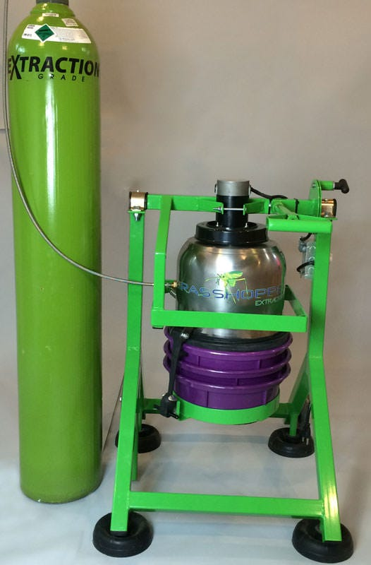 Grasshopper Pollen Extractor - Liquid CO2 Extractor The Grasshopper Liquid CO2 Extractor is a liquid CO2 extractor system that flash freezes plant material in 30 seconds, extracting trichomes in 5 minutes. Nothing like it is currently on the market! Note: Lead time on this item is approximately 2 weeks from date of order. Taking Extraction to the Next Level Great for making many plant based derived products. Yield up to 25% after 2 runs Stainless steel screens down to 50 microns Elegant & Unique Design The Grasshopper's extraction chamber comes with 100, 74, and 50 micron screens with the unique option to customize by adding on extra sets of screens to keep the production moving smooth and quickly for finer graded particle size. Besides being easy to use with its rubber straps that make attaching screens easy and effortless, The Grasshopper is easy to clean. Simply blow out the screens with compressed air, there are no solvents, cleaners, or lubricants required. The Grasshopper Extractor is proudly made in Southern Oregon. Includes: Stainless Steel Bucket 149, 100, 74 and 50 Micron Classifiers Screens Collection Plate