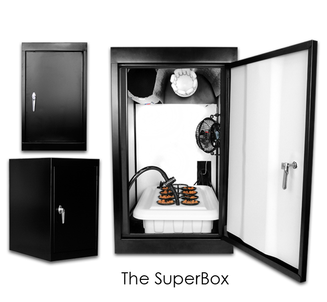 "SuperCloset - SuperBox - Grow Closet The average lead time for this product is approximately 2 to 3 weeks because each unit is built-to-order. The SuperCloset Grow Closet is the Award Winning Complete Automated Hydroponic Grow System that Comes with Everything You Need to Effectively Grow Indoors. Our Unique Grow Closet comes with a SuperPonics System that Grows Your Plants Up to 5X Faster, Bigger, and Easier Than Any Other Grow Closet. Grow Your Own with the Only Fully Automated, Fully Assembled, Quiet, Safe, Beautiful, Air Tight, Light Tight, Locking, InfraCool, Powder Coated Black Grow Closet, Designed to Fit Perfectly in Your Home! Our Grow Closet truly takes the Guesswork Out of Growing.  We have created the ideal indoor gardening environment in which every key detail has already been considered and incorporated into our professional design.  You will therefore have the luxury of following the included simple instructions and DVD to attain results comparable to those of Master Growers.   Follow these simple steps to achieve amazing results and the highest quantity and quality yields in your Grow Closet: 1. Refresh your reservoir every 1 – 2 weeks 2. Add the nutrients that come with the system 3. Adjust your pH 4. Sit back and watch 'em grow The SuperCloset Grow Closet and Grow Room are the ONLY All-in-One Hydroponic Grow Systems that include all of the following: A full spectrum Lighting System  for Complete Light Control and Maximum Penetration Activated Carbon Scrubber for Complete Air Filtration Fully Automated SuperPonics System which grows your plants up to 2-5x Faster than traditional methods by combining Top Feed, Deep Water Culture, Bubble, & Aeroponics Adjustable Internal Circulation Fan for ""4 Corner"" Air Distribution Anti-Mold Reflective, Removable, and Adjustable Panels provide optimal light distribution and cleanliness. 3 Year Warranty Complimentary DVD, Manual, Grow Like a"
