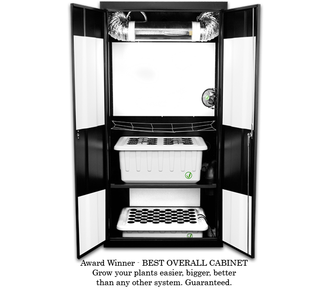 SuperCloset Deluxe 3.0 – Grow Box The average lead time for this product is approximately 2 to 3 weeks because each unit is built-to-order. The SuperCloset Grow Box isthe Award Winning Complete Automated Hydroponic Grow System that Come with Everything You Need to Effectively Grow Indoors. Our Unique SuperPonics System Grows Your Plants Up to 5X Faster, Bigger, and Easier Than Any Other System. Grow Your Own with the Only Fully Automated, Fully Assembled, Quiet, Safe, Beautiful, Air Tight, Light Tight, Locking, InfraCool, Powder Coated Black Grow Box, Designed to Fit Perfectly in Your Home! Our grow box truly takes the Guesswork Out of Growing. We have created the ideal indoor gardening environment inside of our grow boxes, in which every key detail has already been considered and incorporated into our professional design. You will therefore have the luxury of following the included simple instructions, DVD, and Grow Like a SuperPro Complete Grow Series to attain results comparable to those of Master Growers. Follow these simple steps to achieve amazing results and the highest quantity and quality yields 1. Refresh your reservoir every 1 – 2 weeks 2. Add nutrients to the system 3. Adjust your pH 4. Sit back and watch 'em grow The SuperCloset Grow Box and Grow Roomare theONLYAll-in-One Hydroponic Systems that include all of the following: A full spectrumDimmable & DigitalLumatekLighting System onAdjustableYo-Yo's forFull Light Control and Maximum Penetration Activated Carbon Scrubberfor Complete Air Filtration Fully Automated SuperPonics Systemwhich grows your plants up to2-5x Fasterthan traditional methods by combining Top Feed, Deep Water Culture, Bubble, & Aeroponics Adjustable Cloning Chamber with SuperClonergiving you 100% Cloning Success. Powered by two cool white 6500k lights. Perfect for seedlings, clones, mothers, as well as early vegetative growth, and