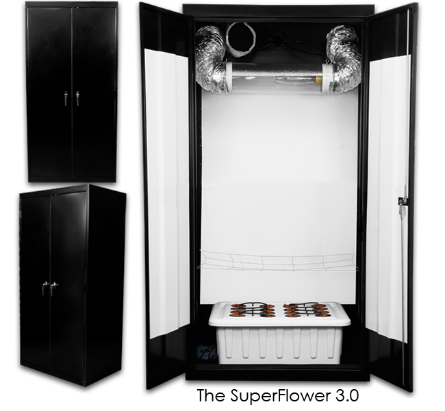 SuperCloset SuperFlower 3.0 – Grow Cabinet The average lead time for this product is approximately 2 to 3 weeks because each unit is built-to-order. This SuperCloset Grow Cabinet isthe Award Winning Complete Automated Hydroponic Grow System that Comes with Everything You Need to Effectively Grow Indoors. Our Grow Cabinet Comes With The Unique SuperPonics System Grows Your Plants Up to 5X Faster, Bigger, and Easier Than Any Other System. Grow Your Own with the Only Fully Automated, Fully Assembled, Quiet, Safe, Beautiful, Air Tight, Light Tight, Locking, InfraCool, Powder Coated Black Grow Cabinet, Designed to Fit Perfectly in Your Home! Our hydroponic grow cabinet truly takes the Guesswork Out of Growing. We have created the ideal indoor gardening environment in which every key detail has already been considered and incorporated into our professional design. You will therefore have the luxury of following the included simple instructions, DVD, and Grow Like a SuperPro Video Series to attain results comparable to those of Master Growers.  Follow these simple steps to achieve amazing results and the highest quantity and quality yields 1. Refresh your reservoir every 1 – 2 weeks 2. Add the nutrients that come with the system 3. Adjust your pH 4. Sit back and watch 'em grow The professionally designed SuperCloset Grow Cabinet and Grow Roomare theONLYAll-in-One Hydroponic Grow Systems that include all of the following: A full spectrumDimmable & DigitalLumatekLighting System onAdjustableYo-Yo's forFull Light Control and Maximum Penetration Activated Carbon Scrubberfor Complete Air Filtration Fully Automated SuperPonics Systemwhich grows your plants up to2-5x Fasterthan traditional methods by combining Top Feed, Deep Water Culture, Bubble, & Aeroponics Adjustable Net Screen Trelliswhich promotes up to30% Larger & Higher Yielding Plants Adjustable Internal CirculationF