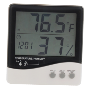 Grower's Edge Large Display Thermometer & Hygrometer Measures indoor/outdoor temperature & indoor humidity. Stores the Min./Max. values of the indoor/outdoor temperature and indoor humidity. Switch between °C and °F. 12/24 hour mode switch. Recovery function on the Min./Max. values. Indoor temperature measuring range: -22°F~122°F (-30°C~+50°C). Outdoor temperature measuring range: -58°F~158°F (-50°C~+70°C). Indoor humidity measuring range: 20%~99% (relative humidity). Resolution: Temperature: 0.1°C; Humidity: 1% RH. Power supply: 1 AAA alkaline battery (included). Operation environment: Temperature: 0°C~50°C; Humidity: 5%~85% RH One year warranty. Instructions PDF